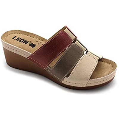 LEON 1009 Leather Slip-on Womens Ladies Sandals Mule Clogs Slippers Shoes