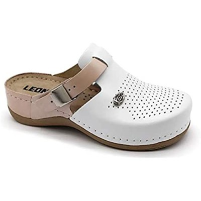 LEON 901 Leather Slip-on Womens Ladies Mule Clogs Slippers Shoes