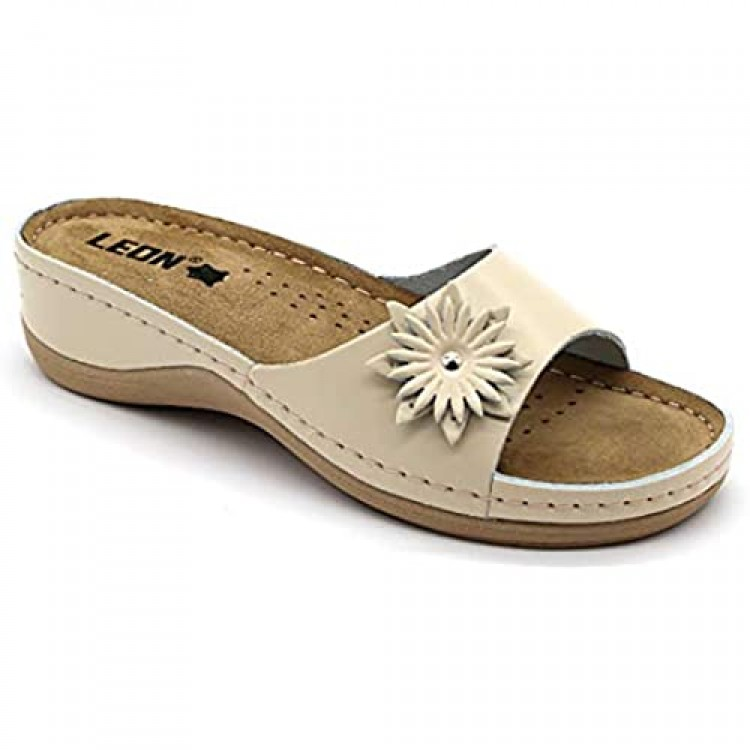 LEON 915 Leather Slip-on Womens Ladies Sandals Mule Clogs Slippers Shoes