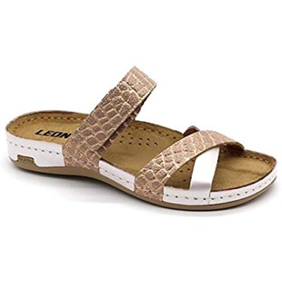 LEON 957 Leather Slip-on Womens Ladies Sandals Mule Clogs Slippers Shoes