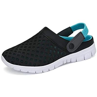 SAGUARO Womens Mens Mesh Breathable Casual Sneakers Clog Mule Ultra Lightweight Slip on Walking Shoes Blue 7 Women/6 Men