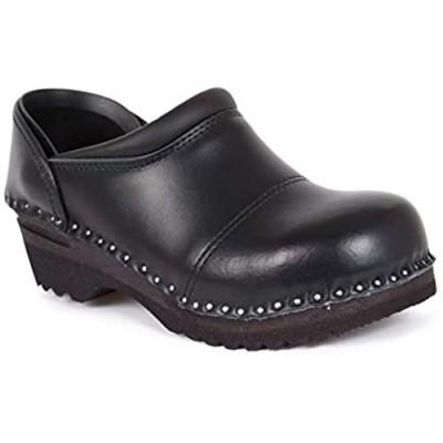 Troentorp Clogs Bastad Picasso Slip On Steel Toe Non Slip Womens Black Leather Wooden Nursing Chef Work Swedish Clogs US