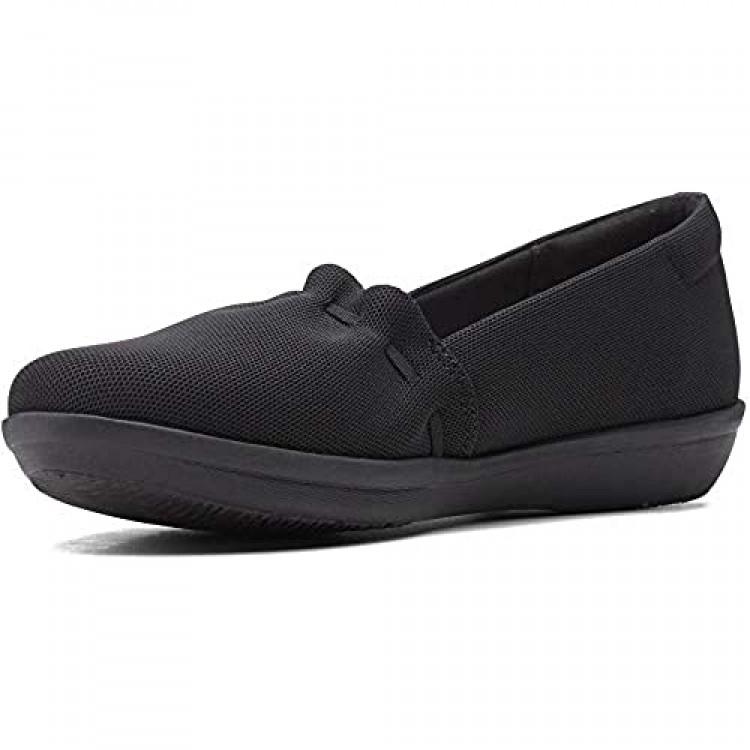 Clarks womens Ayla Shine Loafer Flat Black Textile 7.5 US