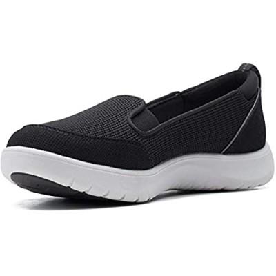 Clarks womens Adella Blush Sneaker Black Textile 7.5 US
