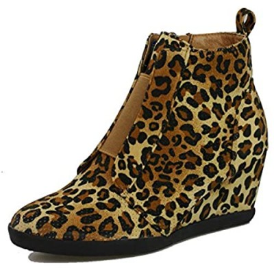 ShoBeautiful Women's Fashion Wedge Sneakers High Top Hidden Wedge Heel Platform Lace Up Shoes Ankle Bootie