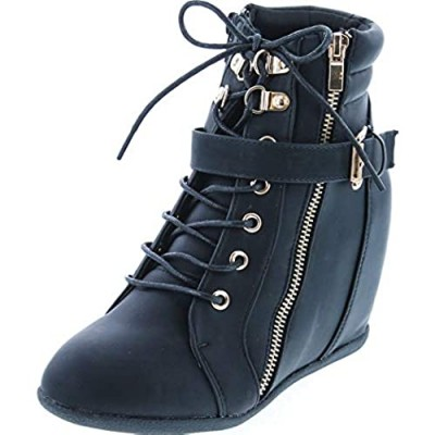 Static Footwear Womens Peter-1 Lace Up Hidden Wedge High Top Fashion Sneakers