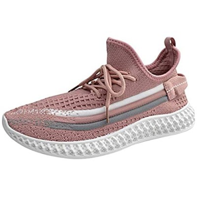 La Dearchuu Running Shoes for Women Non Slip Tennis Shoes Mesh Walking Sneakers Lace Up Sneakers Knit Athletic Shoes Size 5-11