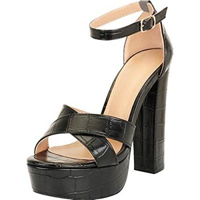Cambridge Select Women's Chunky Platform Extra High Heel Sandal