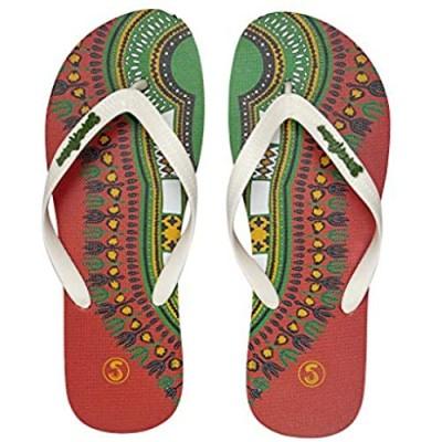 SlipsAfrica Mens Casual Flip-Flops | Comfortable Beach Slippers (Red White)