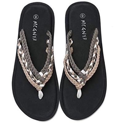 Women's Yoga Mat Flip Flops Soft Hand-Braided Flat Sandals for Walking Anti-Skid Strap Slippers