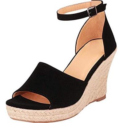 Cambridge Select Women's Open Toe Ankle Strap Lasercut Perforated Espadrille Chunky Platform Wedge Sandal