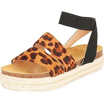 Cambridge Select Women's Open Toe Stretch Strappy Chunky Espadrille Flatform Sandal