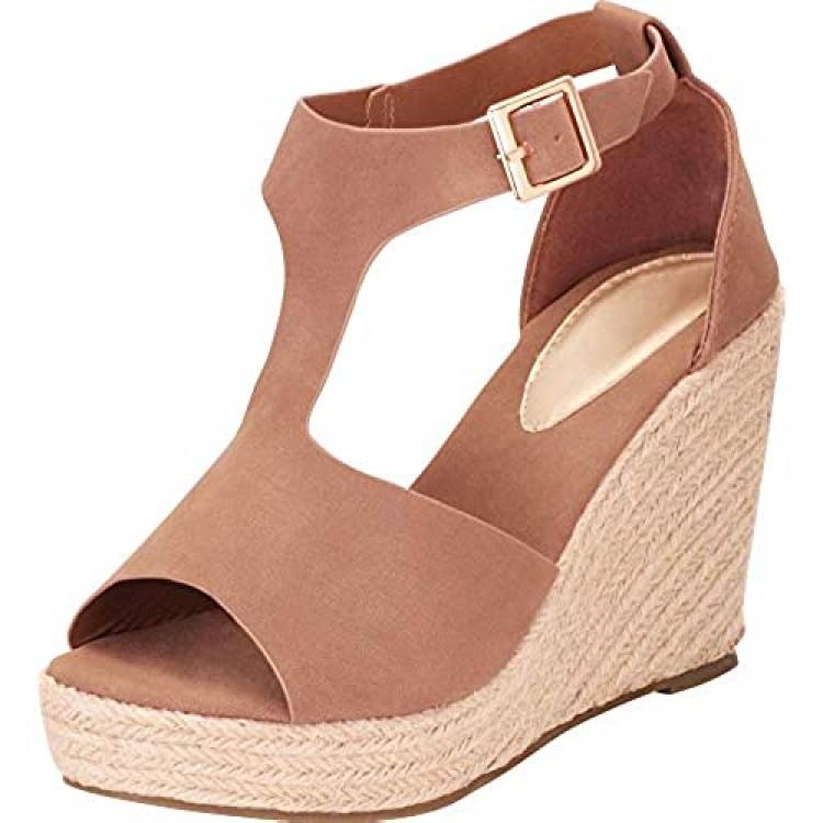 Cambridge Select Women's Open Toe T-Strap Chunky Espadrille Platform Wedge Sandal