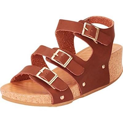 Cambridge Select Women's Open Toe Three-Strap Buckle Chunky Platform Low Wedge Sandal