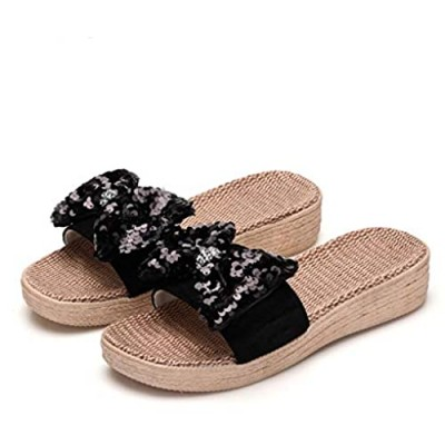 ba knife Women's House Non-Slip Slippers Thick Flax Bowknot Sandals for Indoor Outdoor Breathable Shoes