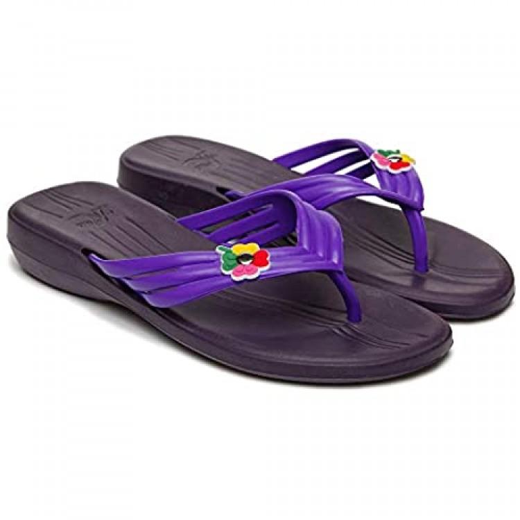 Dune-Ast Women's Beach Summer EVA Flip-Flops – Pool Slides Rubber Sandals - Comfortable PVC Slides Soft Cushion Footbed V-Strap - Lightweight Orthopedic – Non Slip Water Resistant