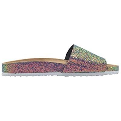 Via Rosa Ladies Footbed Sandal Chunky Glitter Slip On Slide Shoe with Glitter Sidewall