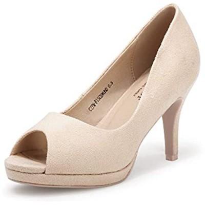 CZ CUZOF Women's Peep Toe Pumps Shoes Wedding Low Slim Heels Pump for Party Platform Dress Sandals