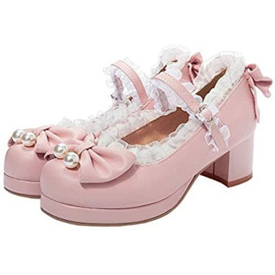 Parisuit Women's Mary Jane Lolita Platform Sweet Lace Shoes with Bow Chunky Heels Round Toe Ankle Strap Pumps